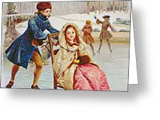 Children Skating Greeting Card by Maurice Leloir