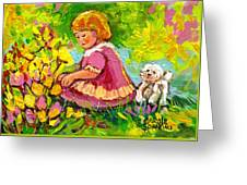 Children's Art - Little Girl With Puppy - Paintings For Children Greeting Card