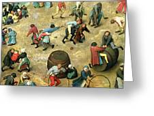 Childrens Games Kinderspiele Detail Of Bottom Section Showing Various Games, 1560 Oil On Panel Greeting Card