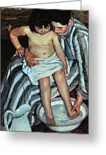 Child's Bath Greeting Card by Mary Cassatt