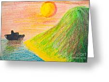 Child's Hand Drawing Of Sea And Mountain Landscape With Crayons Greeting Card