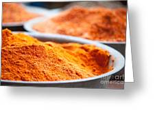 Chili Powder At Local Street Market In Dunhuang China Greeting Card