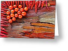 Chilli And Tomato On Rustic Background Greeting Card