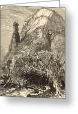 Chimney Rock At Hickory-nut Gap 1872 Engraving Greeting Card