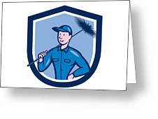 Chimney Sweep Worker Shield Cartoon Greeting Card