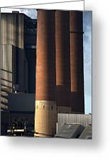 Chimneys Of Coal Power Station. Greeting Card