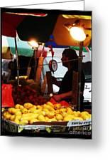 Chinatown Fruit Vendor Greeting Card