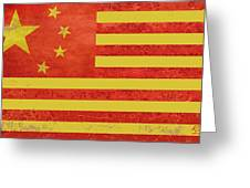 Chinese American Flag Greeting Card