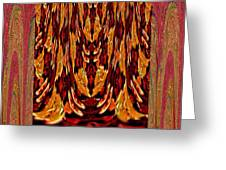 Chinese Folk Ethnic Opera Drapes Decoration Dancing Golden Abstract Signature   Art  Navinjoshi Arti Greeting Card
