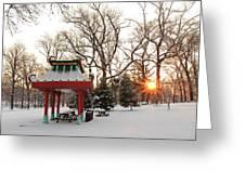 Chinese Pavilion Winter Sunrise Greeting Card