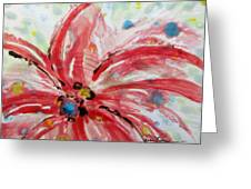 Chinese Red Flower Greeting Card