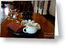 Chinese Tea Pot Cups Towel Tray And Plates Greeting Card