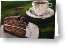Chocolate Hazelnut Cake And Art Deco Fine China Greeting Card