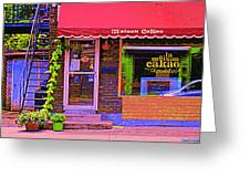 Chocolate Shop La Maison  Cakao Chocolaterie Boulangerie Patisserie Rue Fabre Montreal  Cafe Scene  Greeting Card