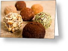Chocolate Truffles On Gold Greeting Card