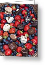 Chocolates And Strawberries Greeting Card by Tim Gainey