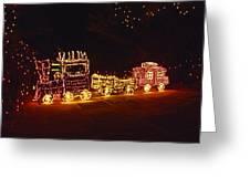 Choo Choo Train In Lights Greeting Card