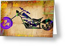 Chopper Motorcycle Painting Greeting Card