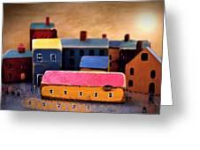 Chopping Block Village Greeting Card by John Grace