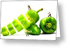 Chopping Green Peppers Little People Big Worlds Greeting Card