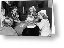 Chorus Girls Playing Hearts Greeting Card