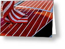 Chris Craft With American Flag Greeting Card