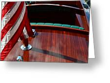 Chris Craft With Flag And Steering Wheel Greeting Card