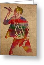 Chris Martin Coldplay Watercolor Portrait On Worn Distressed Canvas Greeting Card