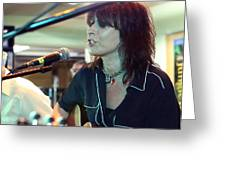 Chrissie Hynde Acoustic By Denise Dube Greeting Card