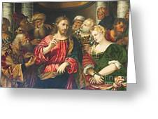 Christ And The Adulteress By Rocco Marconi Greeting Card