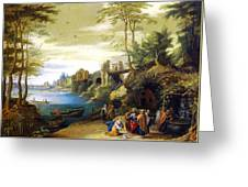 Christ And The Canaanite Woman Greeting Card by Jan Brueghel