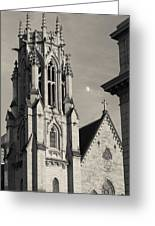 Christ Church Cathedral And Moon Greeting Card