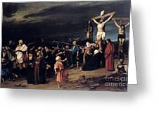 Christ On The Cross Greeting Card by Mihaly Munkacsy