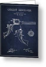 Christ Revolver Patent Drawing From 1866 - Navy Blue Greeting Card