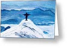 Christ Statue In Rio In Blue Greeting Card