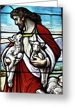 Christ The Good Shepherd With His Flock Greeting Card