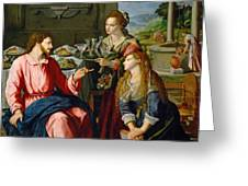 Christ With Mary And Martha Greeting Card