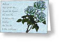 Christian Wedding Invitation With Roses Greeting Card