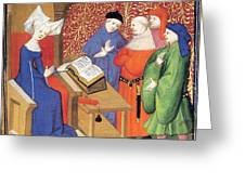 Christine De Pizan Lecturing To Men Greeting Card
