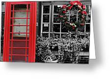 Christmas - The Red Telephone Box And Christmas Wreath IIi Greeting Card