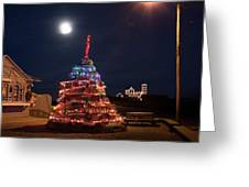 Christmas At Maines Nubble Lighthouse Greeting Card