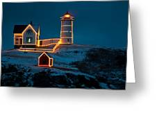 Christmas At Nubble Light Greeting Card
