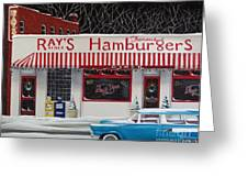 Christmas At Ray's Diner Greeting Card by Catherine Holman