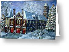 Christmas At The Fire House Greeting Card by Rita Brown