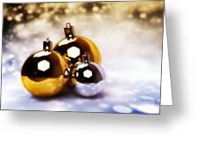 Christmas Balls Gold Silver Greeting Card