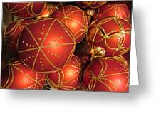 Christmas Balls In Red And Gold Greeting Card