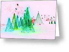 Christmas Blues And Greens Greeting Card