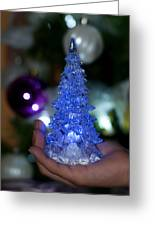 A Christmas Crystal Tree In Blue Greeting Card