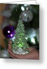 A Christmas Crystal Tree In Green  Greeting Card