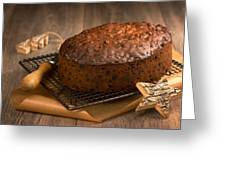 Christmas Cake With Knife Greeting Card